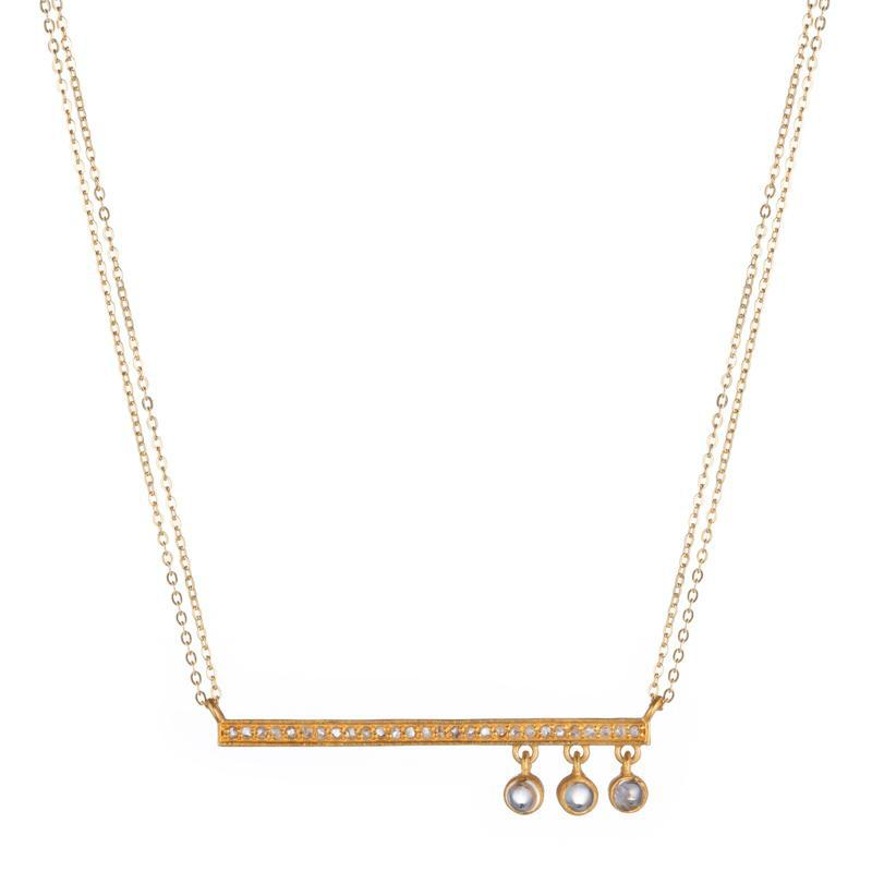 Brooklyn Diamond Bar with Moonstone Drops Necklace-Necklace-Ashley Schenkein Jewelry Design