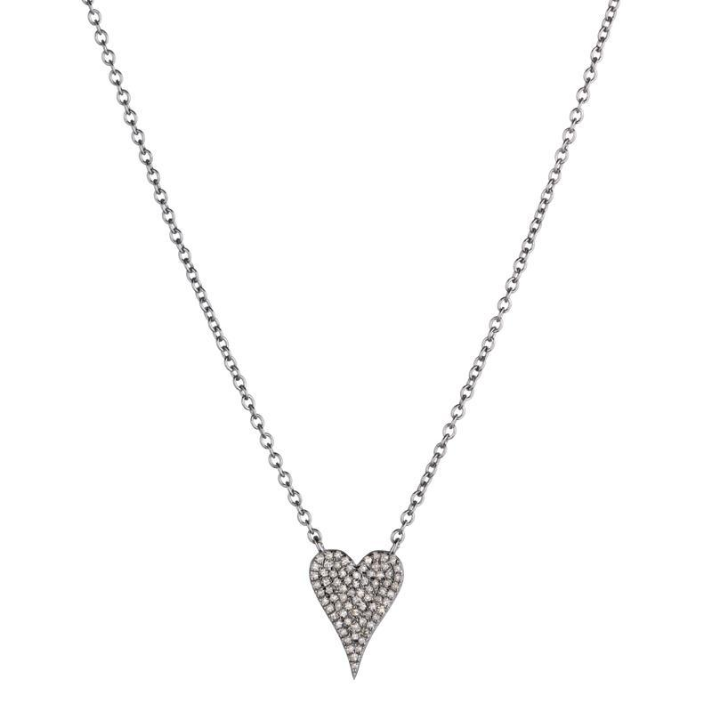 Brooklyn Diamond Pavé Small Heart Necklace -Necklace-Ashley Schenkein Jewelry Design