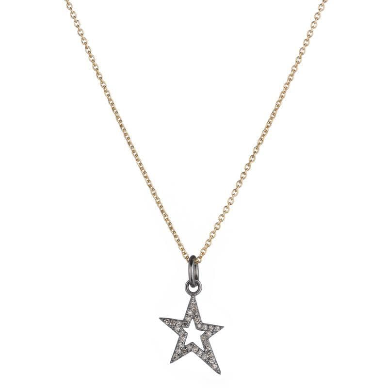 Brooklyn Diamond Pavé Mini Open Star Necklace-Necklace-Ashley Schenkein Jewelry Design
