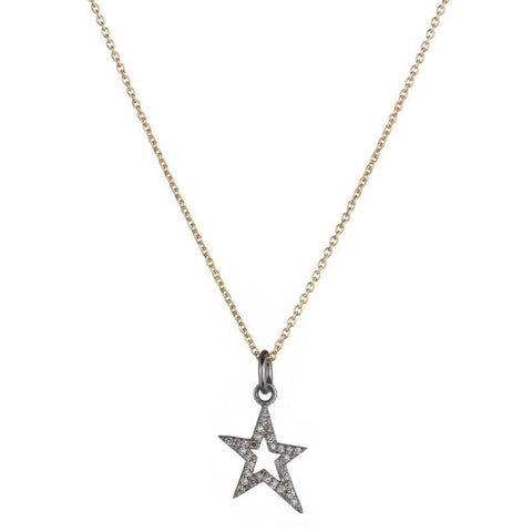 Brooklyn Diamond Pavé Mini Open Star Necklace