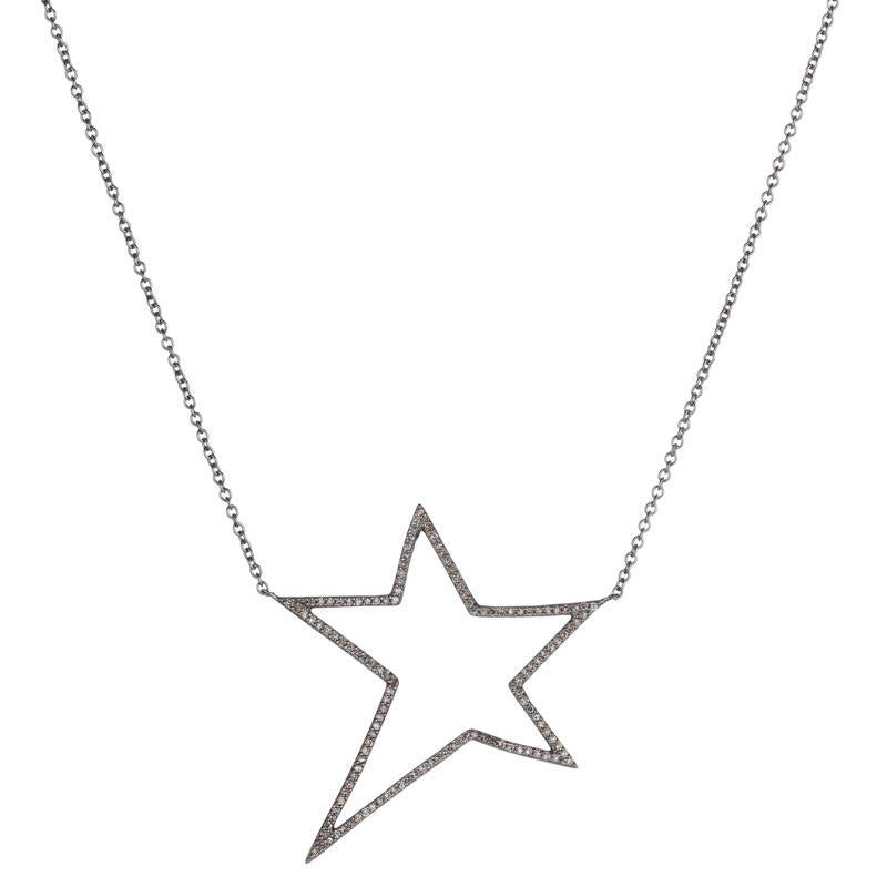 Brooklyn Diamond Pavé Open Star Necklace -Necklace-Ashley Schenkein Jewelry Design
