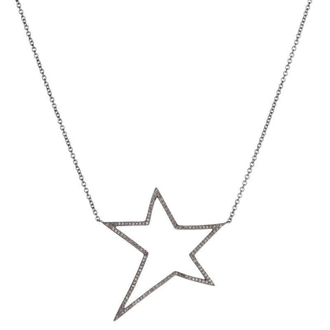 Brooklyn Diamond Pavé Open Star Necklace
