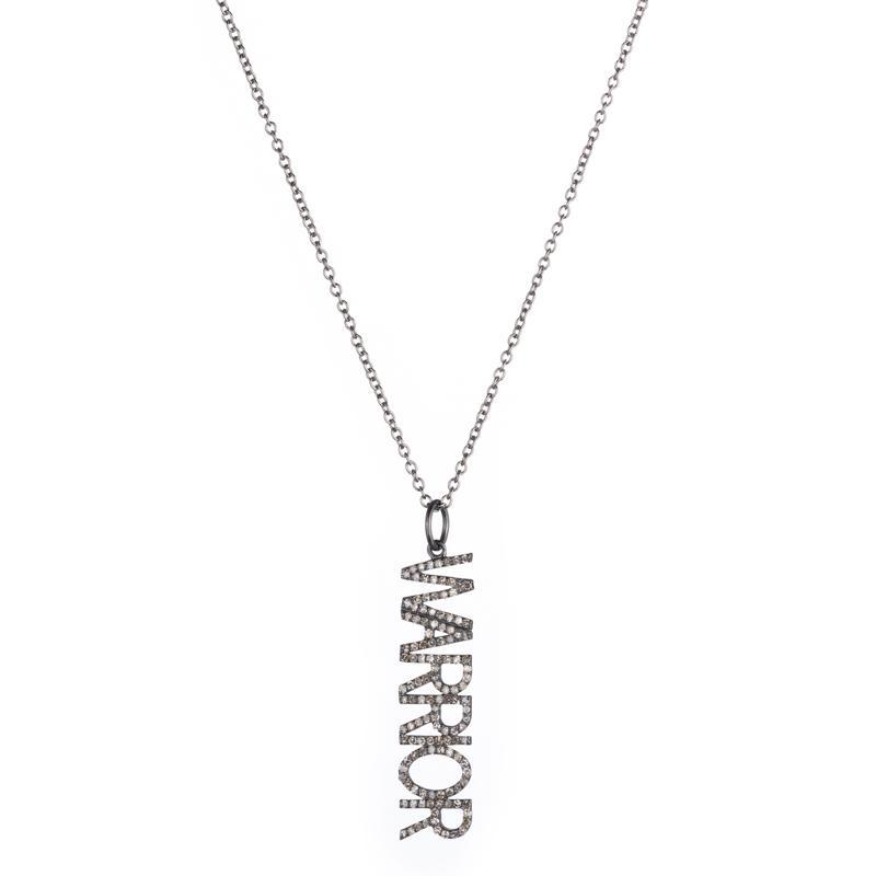 Brooklyn Diamond Pavé WARRIOR Pendant Necklace-Necklace-Ashley Schenkein Jewelry Design