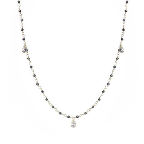 Jaipur Black Garnet and Teardrop CZ Necklace