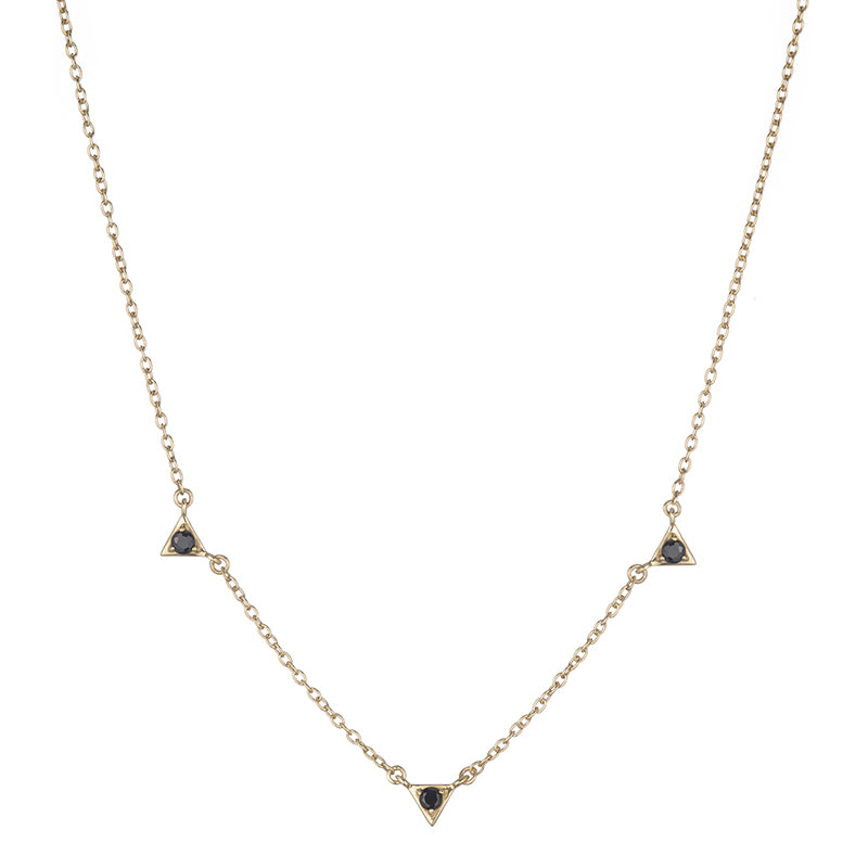Tokyo Triple Triangle Drop Necklace-Necklace-Ashley Schenkein Jewelry Design