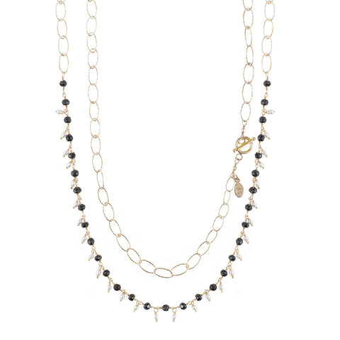 Tokyo Gemstone Cluster and Diamond Cut Chain Necklace