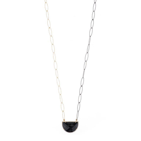 Portland Half Moon Gemstone and Pavé Necklace