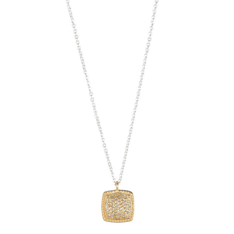 Brooklyn Diamond Pavé Cushion Necklace-Necklace-Ashley Schenkein Jewelry Design
