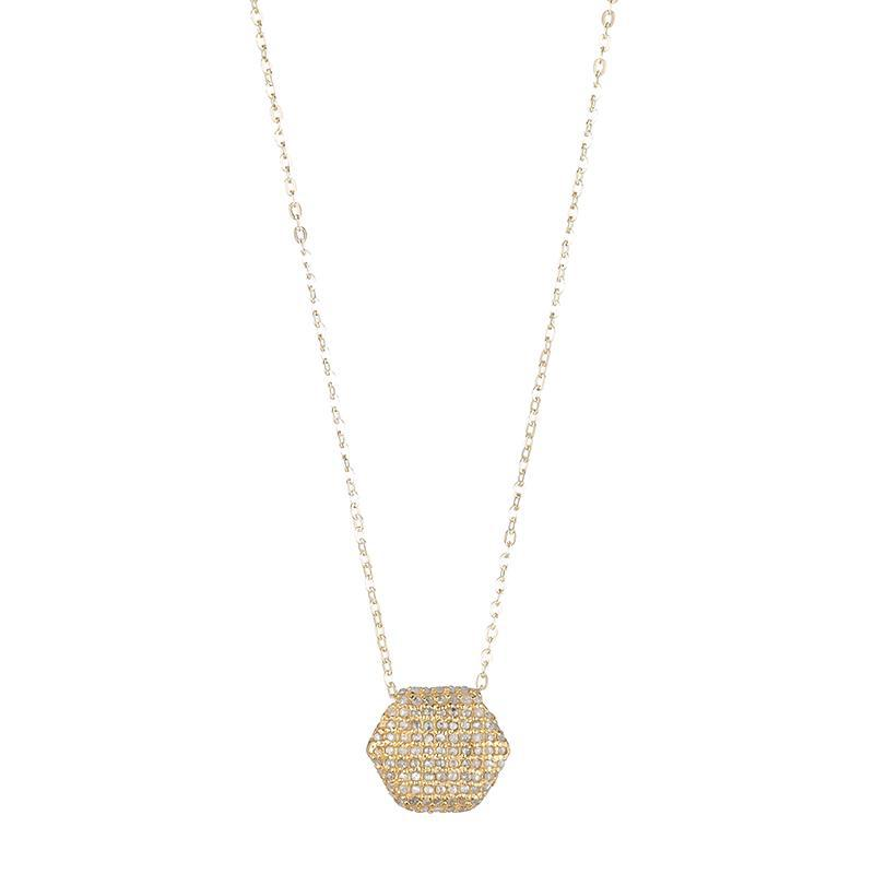 Brooklyn Diamond Pavé Double Sided Hexagon Necklace-Necklace-Ashley Schenkein Jewelry Design