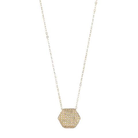 Brooklyn Diamond Pavé Double Sided Hexagon Necklace