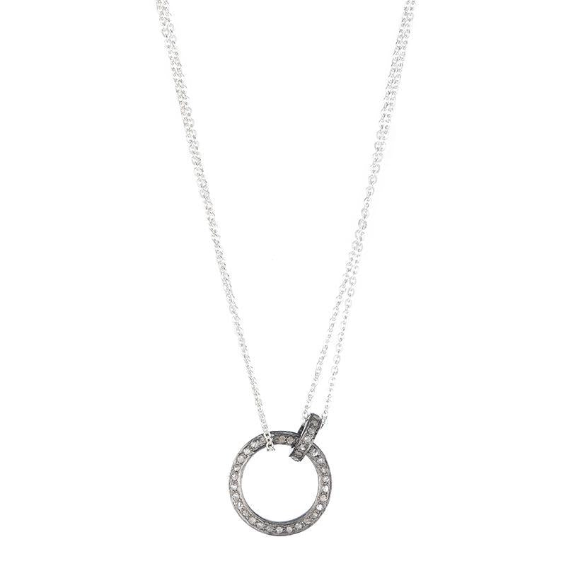 Brooklyn Diamond Pavé Double Circle Necklace-Necklace-Ashley Schenkein Jewelry Design