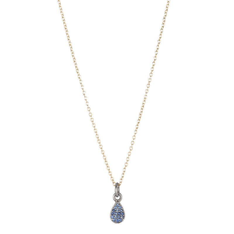 Brooklyn Pavé Sapphire Teardrop Necklace-Necklace-Ashley Schenkein Jewelry Design