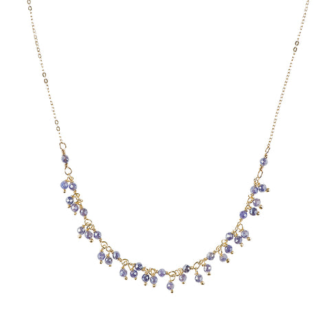 Greece Gemstone Cluster and Diamond Cut Chain Necklace