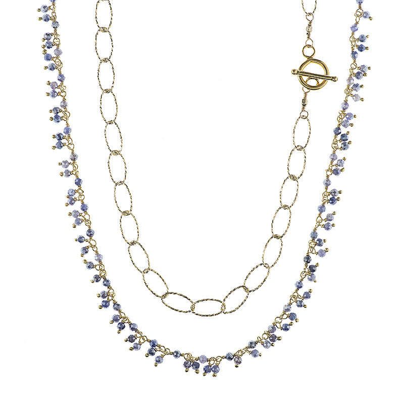 Greece Gemstone Cluster and Diamond Cut Chain Necklace-Necklace-Ashley Schenkein Jewelry Design