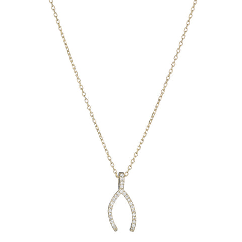 Melrose CZ Wishbone Necklace