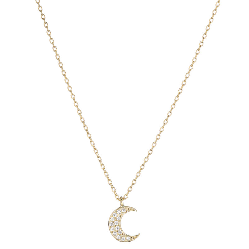 Melrose CZ Crescent Moon Necklace-Necklace-Ashley Schenkein Jewelry Design