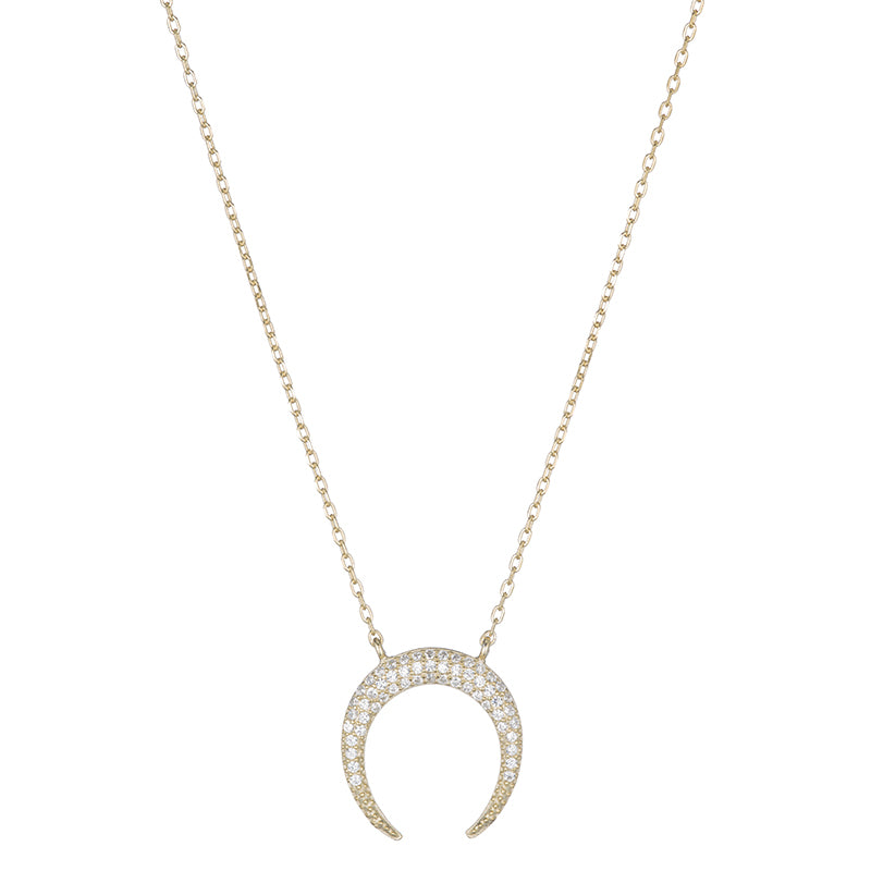 Melrose CZ Upside Down Crescent Moon Necklace-Necklace-Ashley Schenkein Jewelry Design