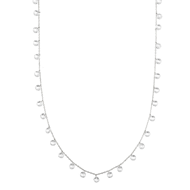 Melrose Floating CZ Long Necklace-Necklace-Ashley Schenkein Jewelry Design