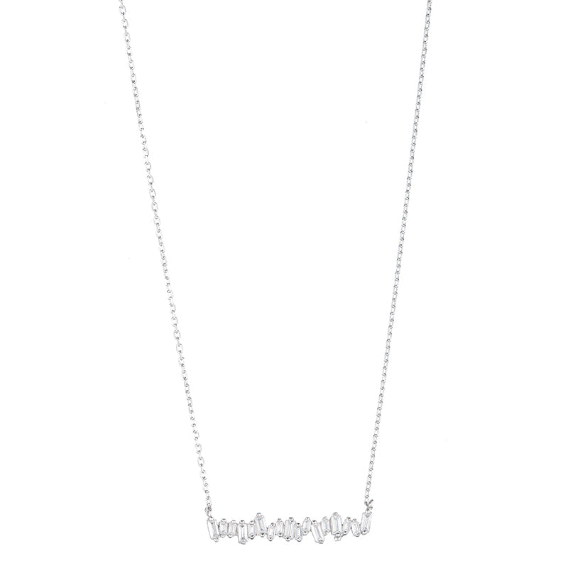 Melrose CZ Baguette Bar Necklace-Necklace-Ashley Schenkein Jewelry Design