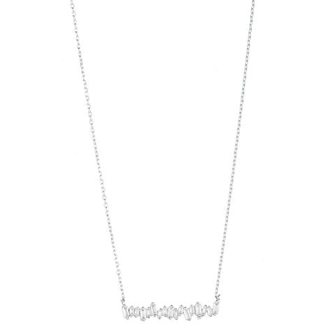 Melrose CZ Baguette Bar Necklace