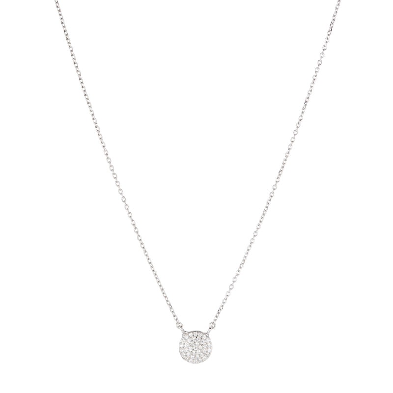Melrose Pavé CZ Disc Necklace-Necklace-Ashley Schenkein Jewelry Design