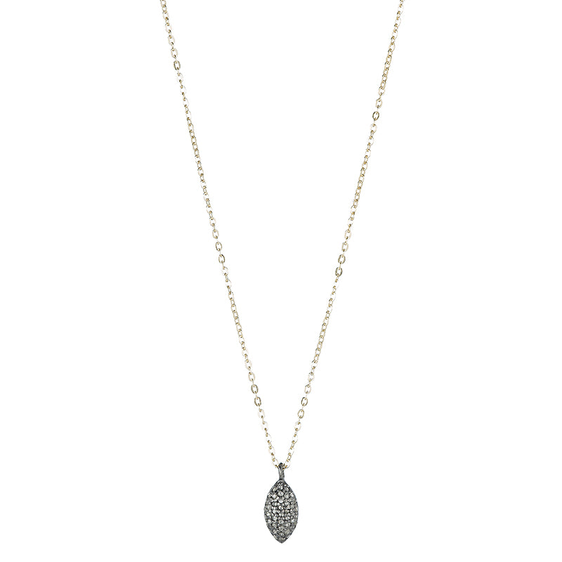 Brooklyn Diamond Pavé 3-D Marquis Necklace-Necklace-Ashley Schenkein Jewelry Design