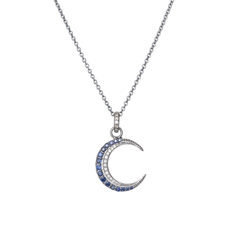 Sapphire and diamond pendant crescent moon necklace on gold chain