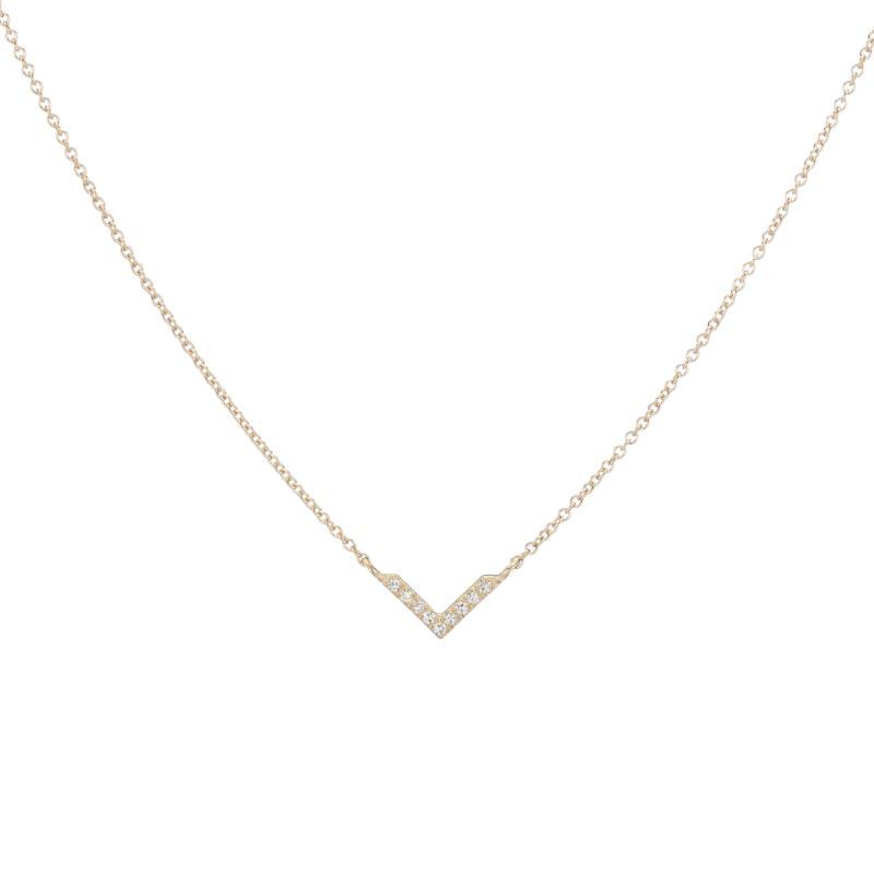 Diamond Pavé V Necklace, 14k-Necklace-Ashley Schenkein Jewelry Design