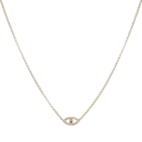 Diamond Pavé X Necklace, 14ky
