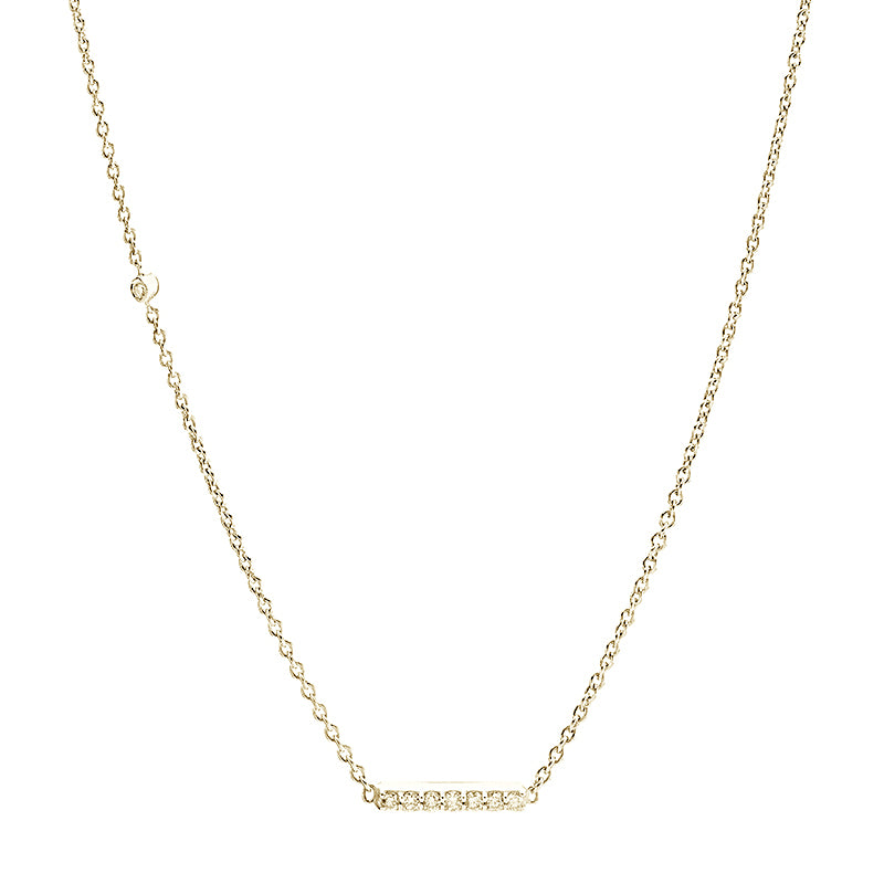 Diamond Bar + Offset Diamond Necklace, 14k-Necklace-Ashley Schenkein Jewelry Design
