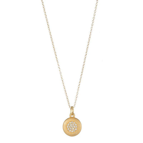 Solid Gold Asymmetrical Moon Necklace, 14k