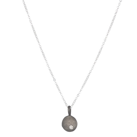 Brooklyn Pavé Mixed Sapphire Moon Necklace