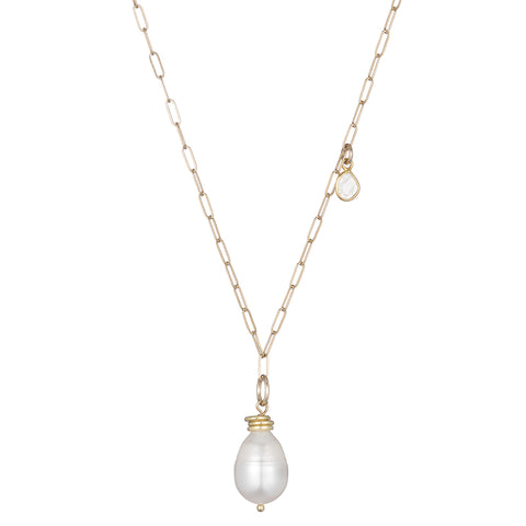 Tokyo Pearl and Diamond Slice Drop Necklace