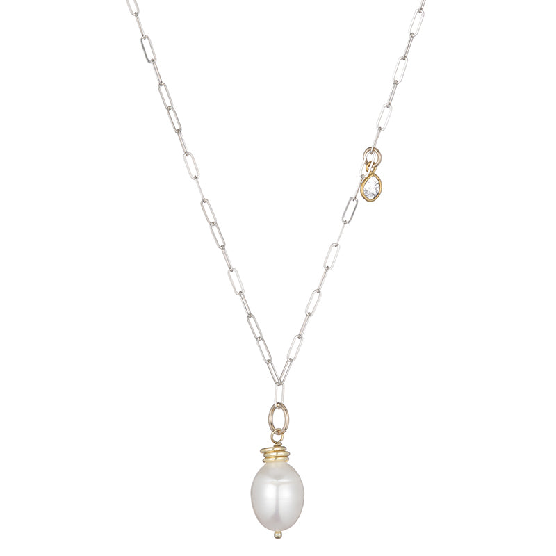 Tokyo Pearl and Diamond Slice Drop Necklace-Necklace-Ashley Schenkein Jewelry Design