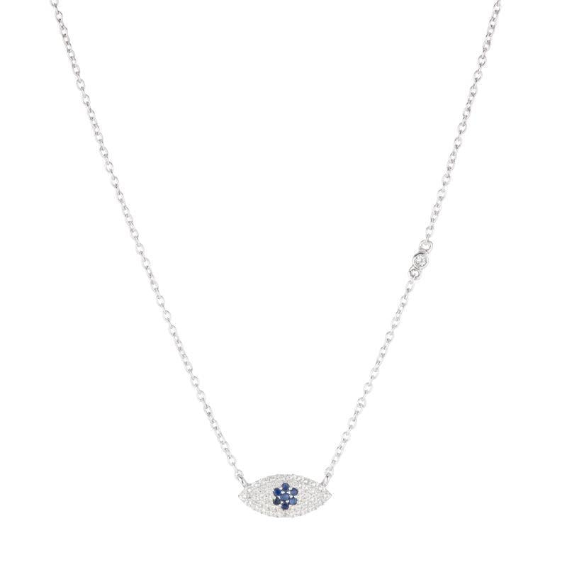 Greece Pavé Evil Eye Necklace-Necklace-Ashley Schenkein Jewelry Design