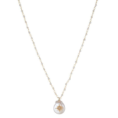 Melrose Mother of Pearl Starburst CZ Necklace