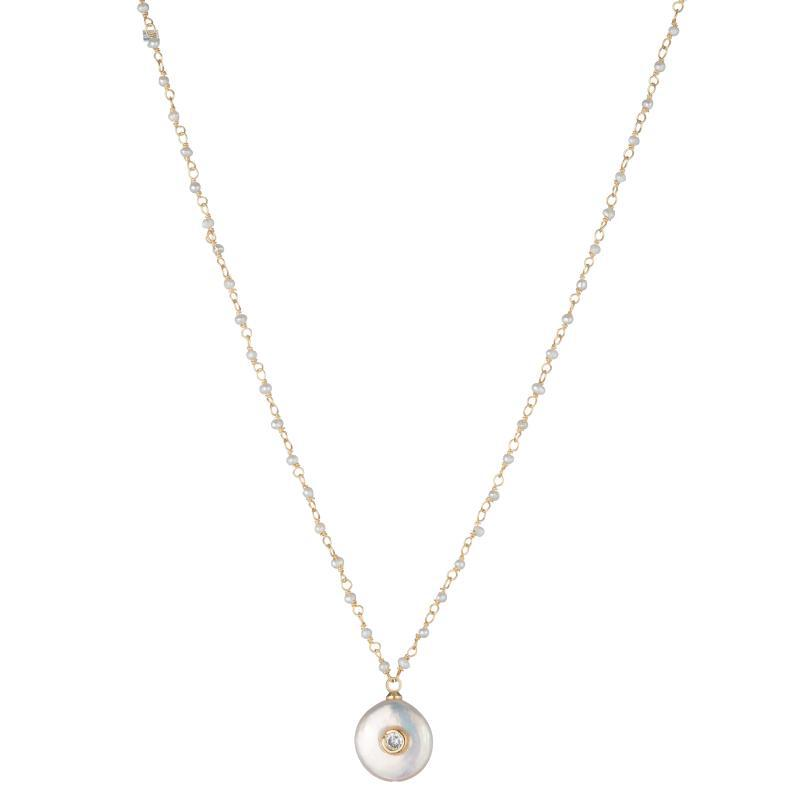 Melrose Mother of Pearl Bezel CZ Necklace-Necklace-Ashley Schenkein Jewelry Design