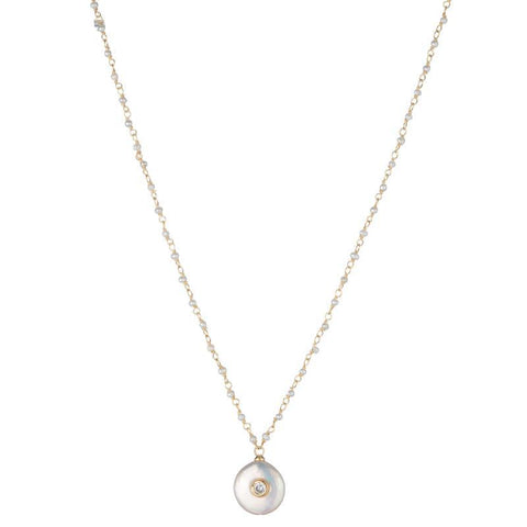 Melrose Mother of Pearl Bezel CZ Necklace