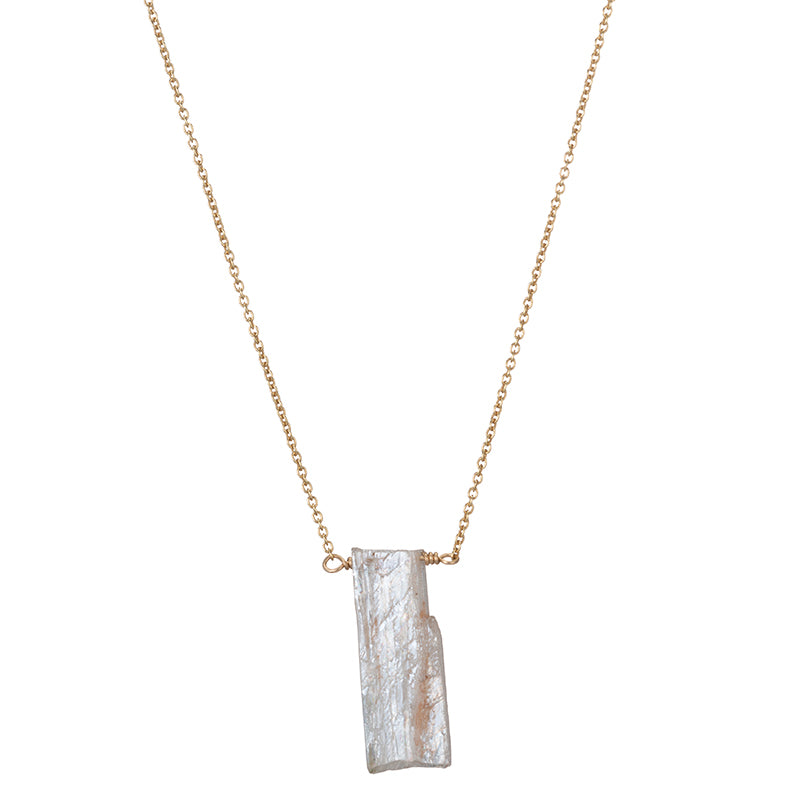 Denver Gemstone Slice Necklace-Necklace-Ashley Schenkein Jewelry Design