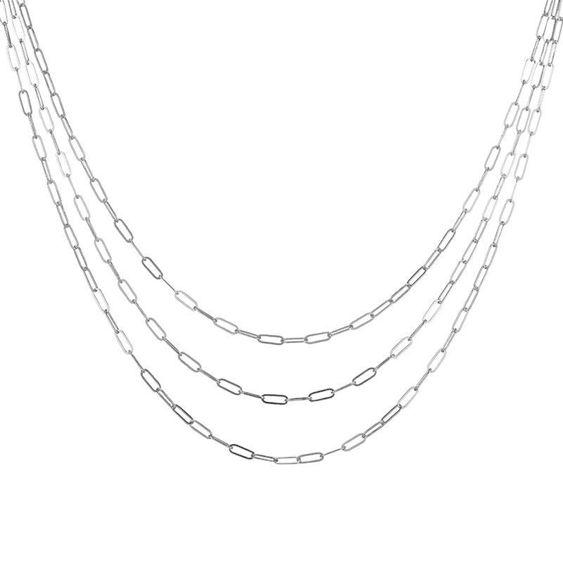 Denver Mini Paperclip Chain Triple Strand Necklace-Necklace-Ashley Schenkein Jewelry Design