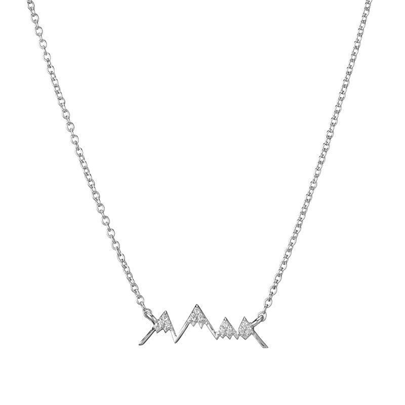 Denver Pavé Mountain Outline Necklace-Necklace-Ashley Schenkein Jewelry Design