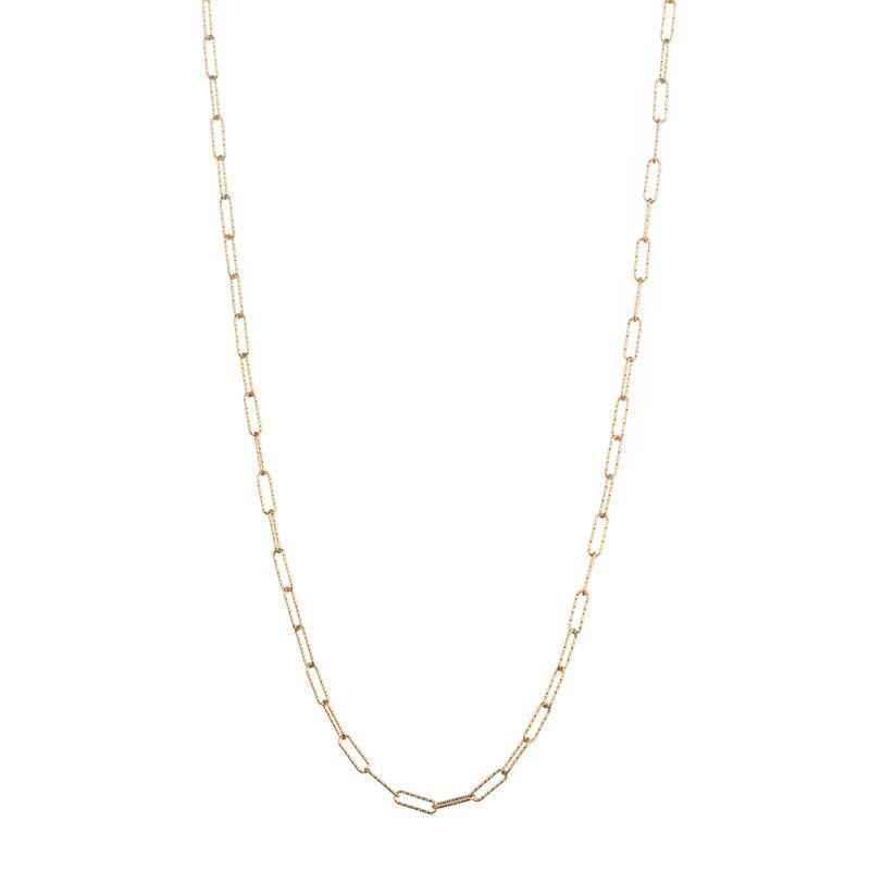 Croatia Long Rectangle Diamond Cut Link Necklace-Necklace-Ashley Schenkein Jewelry Design