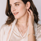 Model shown wearing the choker that is a mix of rose gold, yellow gold and sterling silver