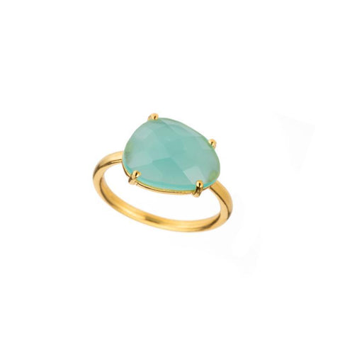 Kyoto Double Bezel Gemstone Adjustable Ring