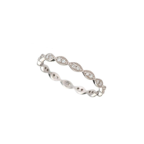 Marquise Shape Milgrain Diamond Eternity Band, 14kw
