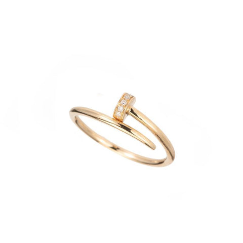 Diamond and Gold Chevron Ring, 14ky