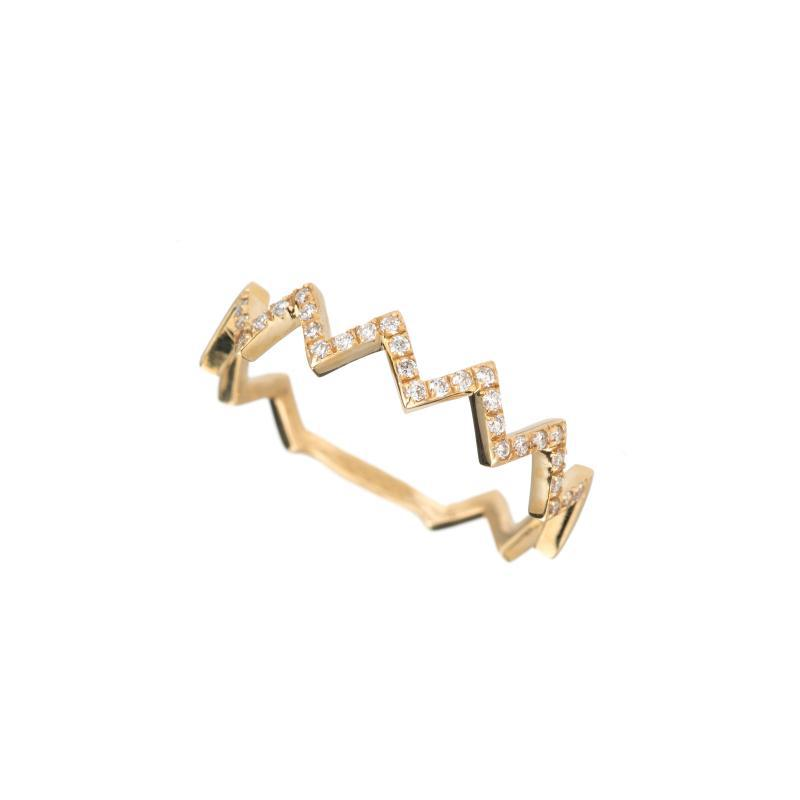 Diamond and Gold Chevron Ring, 14ky-Rings-Ashley Schenkein Jewelry Design