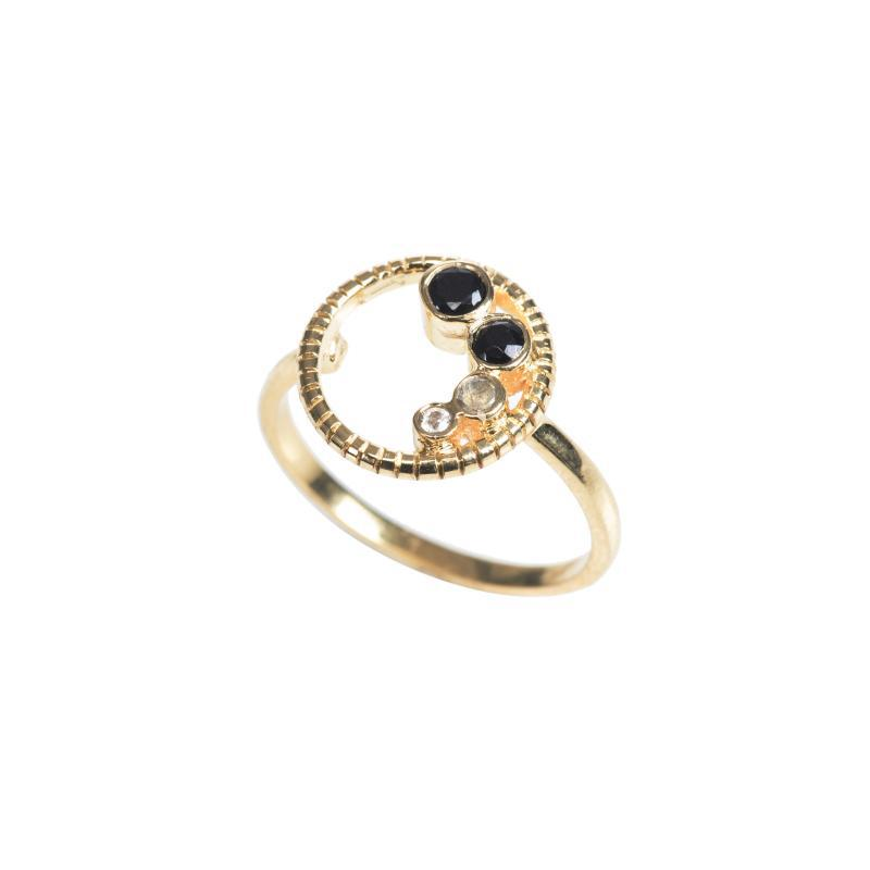 eternity circle ring with black garnet, labradorite and white topaz bezel gemstones in gold