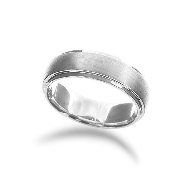 Men's Brushed and Polished Edge Wedding Band