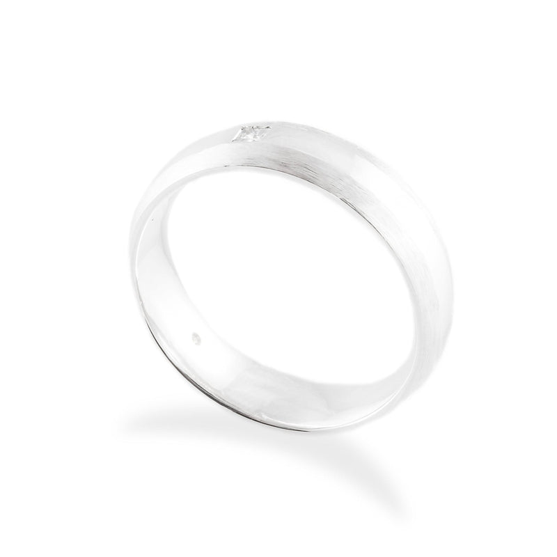 Men's Princess Diamond Brushed and Polished Wedding Band-Wedding Band-Ashley Schenkein Jewelry Design